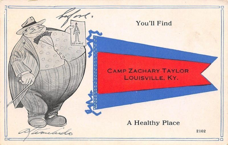 Louisville Kentucky~Pennant: Before & After Healthy~Camp Zachary Taylor c1913