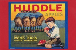 Huddle Apple Box Label Wood Brothers Monitor Washington Circa 1925
