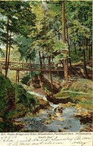 PA - Philadelphia. Fairmount Park, Wissahickon Creek, Rustic Bridge, Arbor