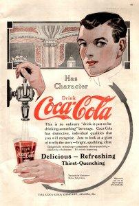 1913 Coca Cola Atlanta Georgia Man Pouring Soda  Vintage Print Ad 1163