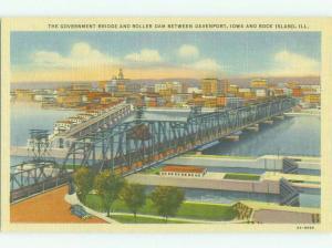 Unused Linen BRIDGE SCENE Rock Island Illinois And Davenport Iowa IA HQ9989