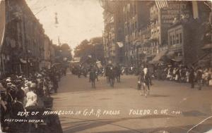 E15/ Toledo Ohio Real Photo RPPC Postcard 1908 G.A.R. Parade Dept of Minnesota