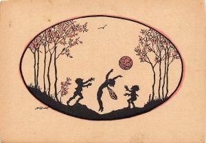 Fantasy Silhouette Pixie Angels Cherubs Playing Ball