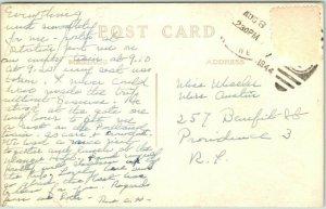 KENNEBUNK, Maine RPPC Real Photo Postcard UNITARIAN CHURCH Street View 1944