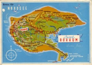 CONTINENTAL-SIZE 1970 MAP OF INSEL BORKUM, GERMANY