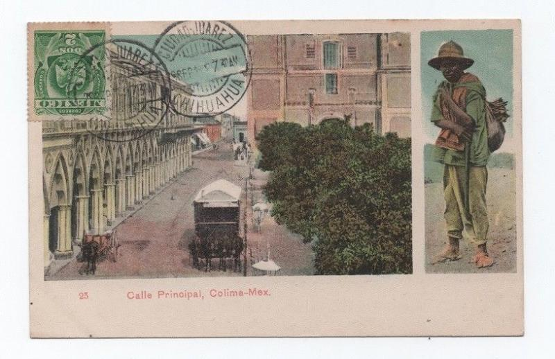 MEXICO ethnic postcard stamp tcv 1907 COLIMA horse cart & farmer