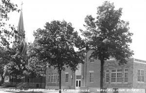 Waverly Iowa~St Paul's Lutheran Church~Parish House School~Art Deco~1940s RPPC