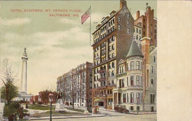 Maryland Baltimore Hotel Stafford Mount Vernon Place 1908
