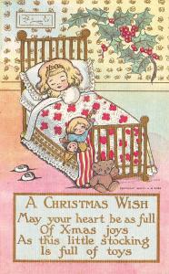 Christmas~Little Blonde Girl in Brass 4 Poster Bed~Teddy Bear~Stocking~Gold Leaf