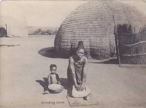 RP, Zulu Life, Zulu Mother & Child, Grinding Corn, South Africa, 1920-1940s