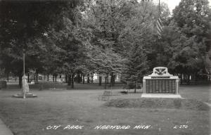 Hartford Michigan~City Park~WWII Soldiers Roll of Honor Monument~1940s RPPC