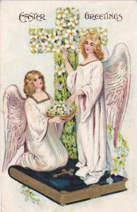 EASTER; Greetings, Angels, Bible, Cross of Lillies, PU-1908