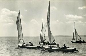 Hungary sailing on Balaton lake real photo postcard