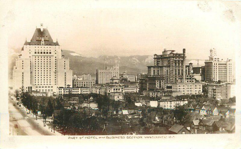 Business Section Hotel 1940s Vancouver BC Canada RPPC real photo Sutton 5521