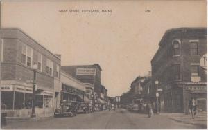 ROCKLAND Maine / MAIN STREET view 1930s era / OLD CARS