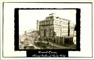 Vtg Postal RPPC 1940s Largo Isla Ciudad New York Ny Reinas County Tribunal Casa