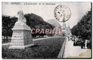 Old Postcard Lourdes L & # 39Esplanade And The Basilica