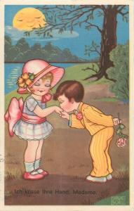 Margret Boriss signed children couple love boy kiss girl hand humanized sun face