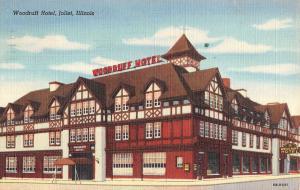 Joliet Illinois Woodruff Hotel Exterior Linen Antique Postcard K21120