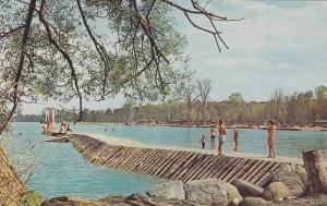 Pier & Partial view of Sandy Beach at Sibbald Provincial Park,  Lake Simcoe, ...