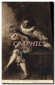 Old Postcard Watteau The Serenades donor Musee Conde Chantilly