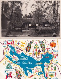 Halmstad Hallandsgarden Galgberget + Sweden Map Postcard s