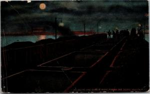 Unloading Ore Cars at Night, Mesaba Ore Docks, Duluth MN Vintage Postcard M09