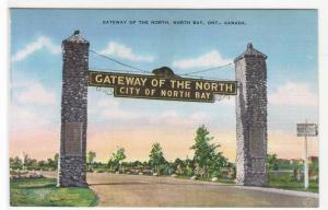 Gateway of the North Arch North Bay Ontario Canada linen postcard