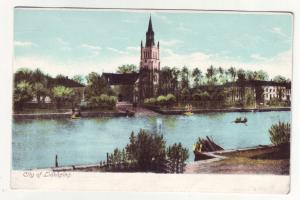 P384 JL postcard old lidkoping sweden city river view etc
