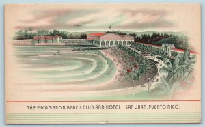 Postcard Puerto Rico San Juan Escambron Beach Club and Hotel c1940s X3