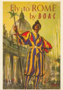 Fly To Rome Italy By BOAC Aircraft Plane Travel Poster Advertising Postcard