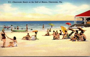 Florida Clearwater Beach On The Gulf Of Mexico 1940 Curteich