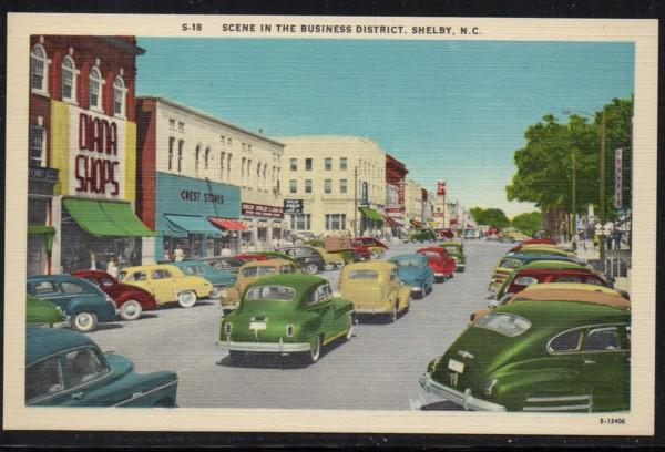 North Carolina colour PC Business District Shelby, N.C., unused