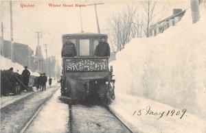 br105484 winter street scene  quebec canada tram train