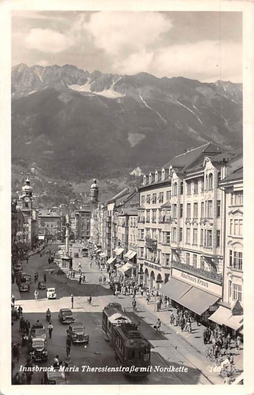 Austria Innsbruck, Maria Theresienstrasse mit Nordkette, cars trams animated AK