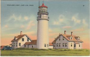 Highland Light House on Cape Cod MA, Massachusetts - pm 1941 - Linen