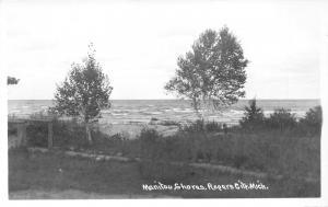 Rogers City Michigan~Manitou Shores~Trees Along Beach~1940s RPPC Postcard