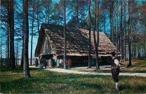 Jamestown Virginia~Glasshouse Meeting in Woods~Thatch~1950-60s Postcard