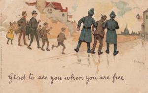 Police Policeman Arresting Drunk Man Off To Prison Antique Comic Postcard
