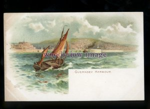 su3605 - Early Sailing Boat entering Guernsey Harbour - Artist EWH - postcaed