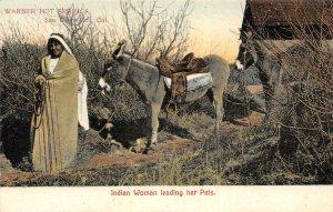 Indian Woman & Pets Warner Hot Springs CA Native American 1900s Vintage Postcard