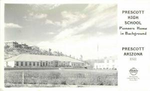 Frasher High School Prescott Arizona Pioneers Home 1940s RPPC Postcard 3460