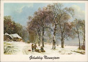 Merry Christmas Happy New Year winter scene sledge