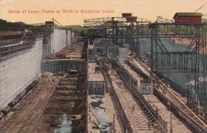 PANAMA, 1900-1910´s; Series Of Large Cranes At Work In Miraflores Locks