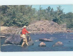 Pre-1980 FISHERMAN FISHING AT VIKING LODGE MOTEL Cranberry Portage MB c5159