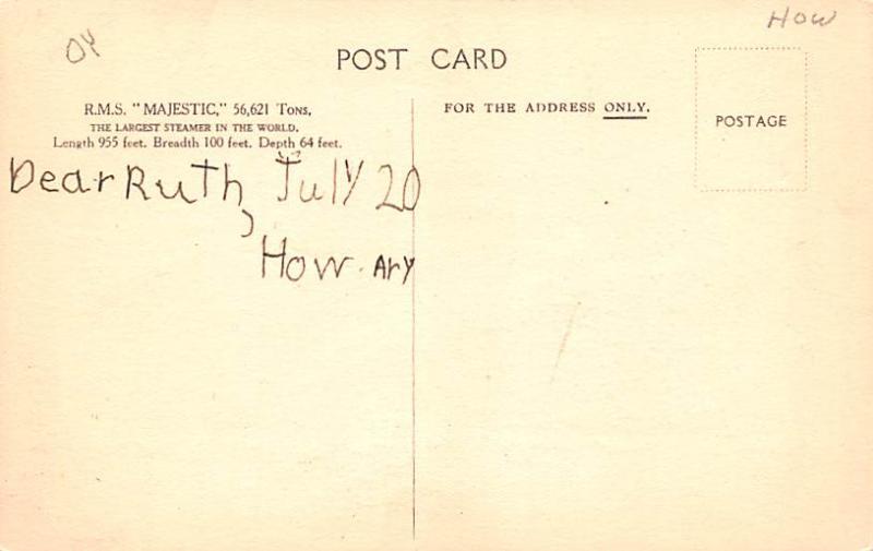 White Star Line Cunard Ship Post Card, Old Vintage Antique Postcard RMS Majes...