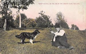 Fox Lake WI Little Dog Shep Looking Out For Drinking Man c1908