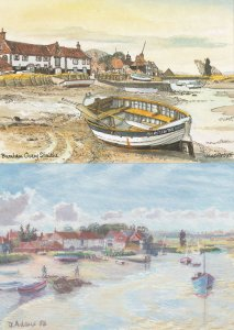 Burnham Overy Norfolk Harbour 2x Painting Postcard s