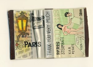 Paris Saloon, Lounge Match Box, Steambath, Koza, B.C., Okinawa, Japan, 1950's?
