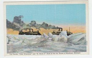P2021 old postcard 2 car ferries stuck in ice straits mackinac michigan unused